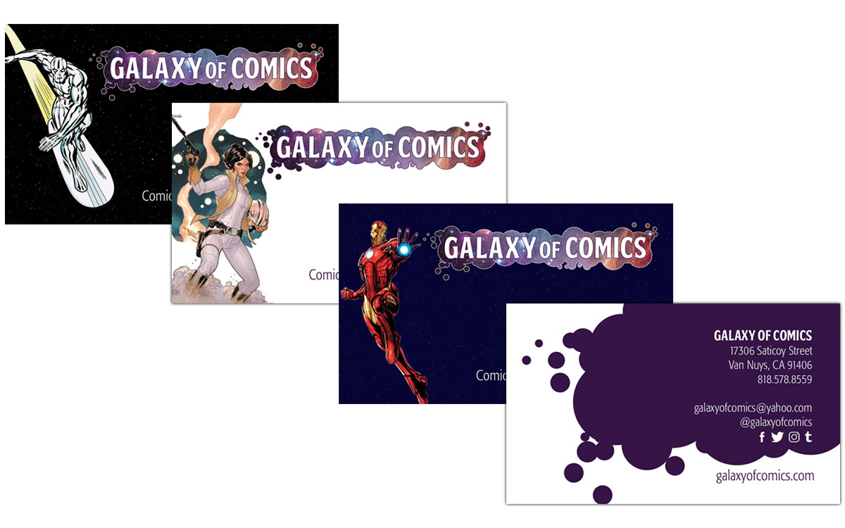 Galaxy of comics identity business cards unnaturally geisha studios previousnext reheart Images